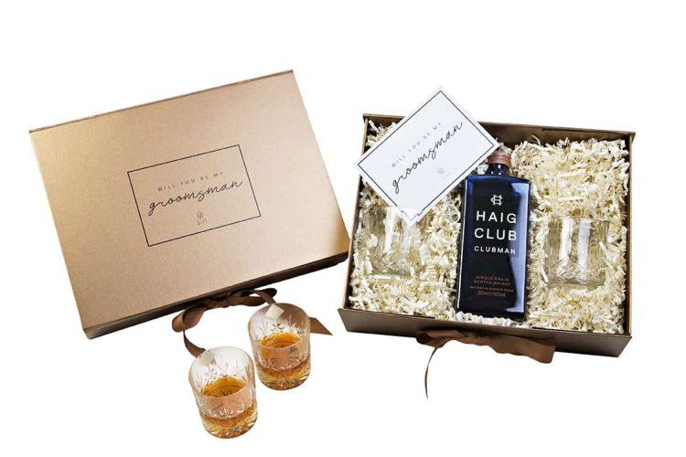 groomsman, haig, whiskey, clubman, waterford glasses